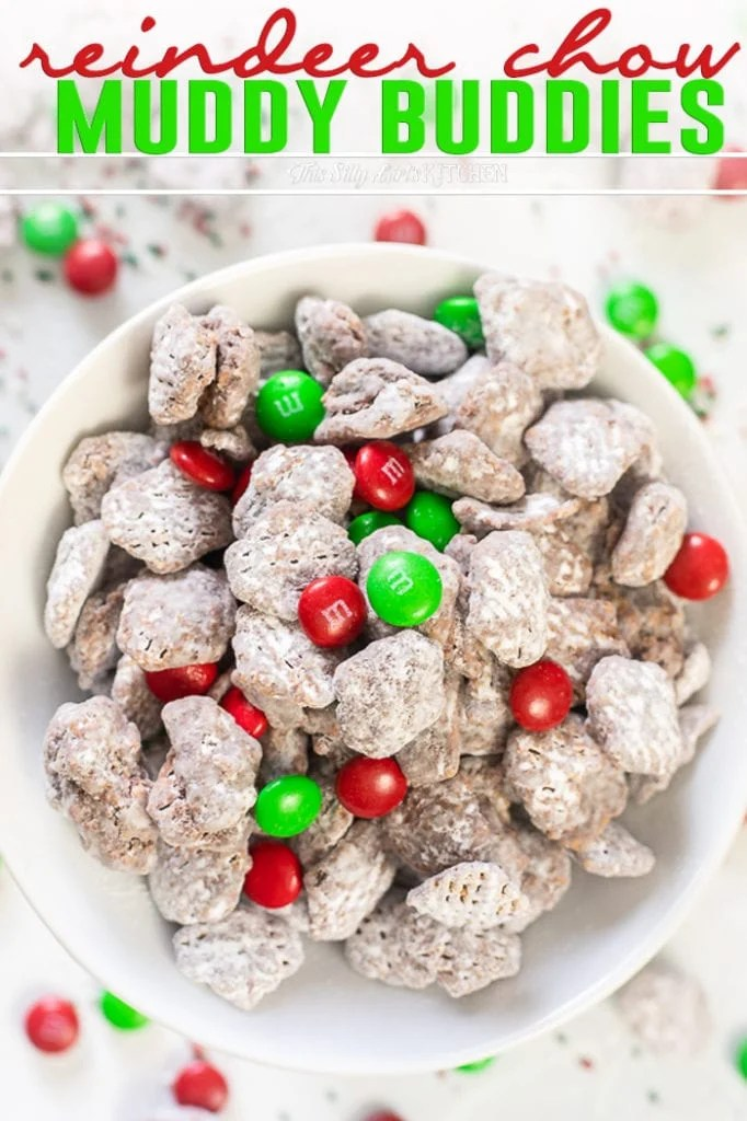 Close up of white bowl filled with Reindeer Chow Muddy Buddies Pinterest image
