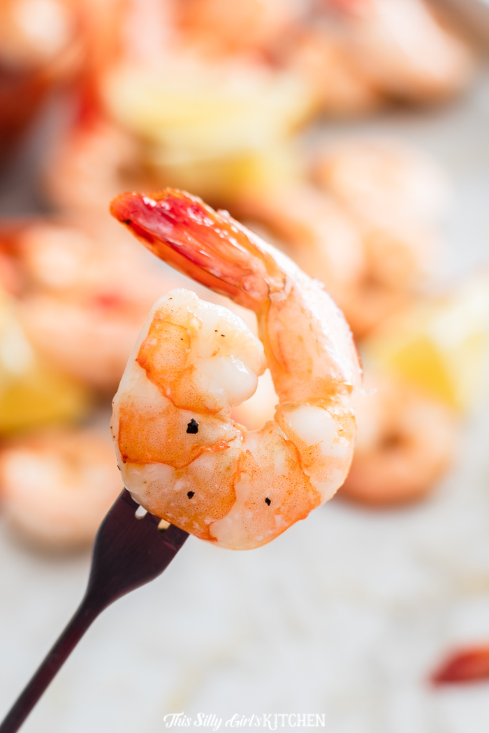 Fork holding up one shrimp