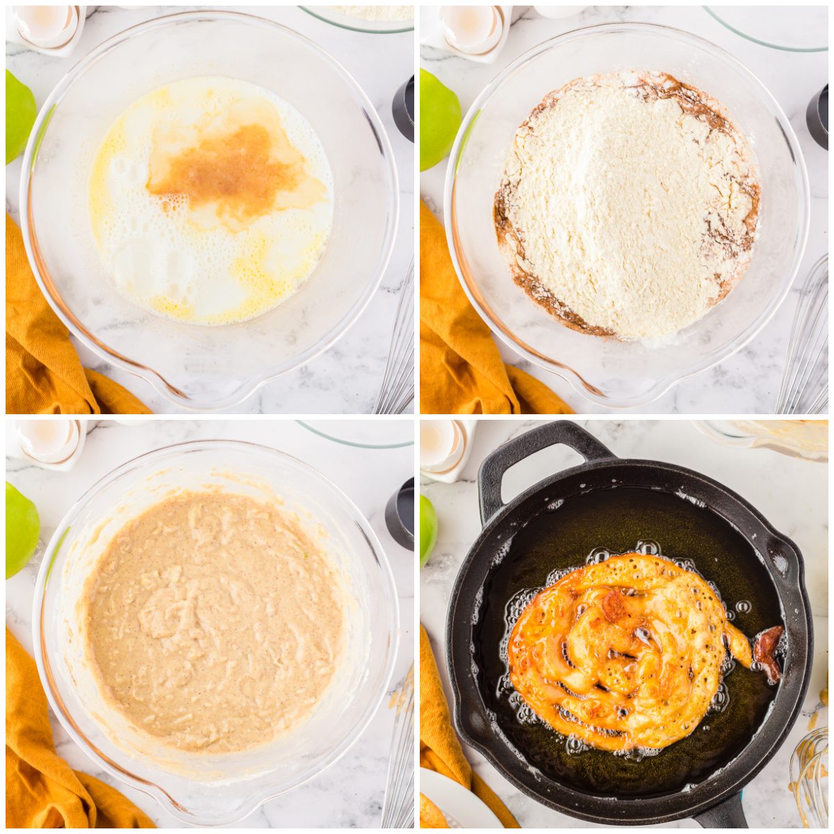 Step by step photos on how to make Caramel Apple Funnel Cakes