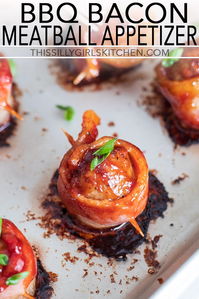 BBQ Bacon Meatball Appetizer, Flavorful meatballs wrapped in thick-cut bacon and brushed with bbq sauce then baked to crispy perfection. #recipe from thissillygirlskitchen.com #appetizer #meatballappetizer #bacon