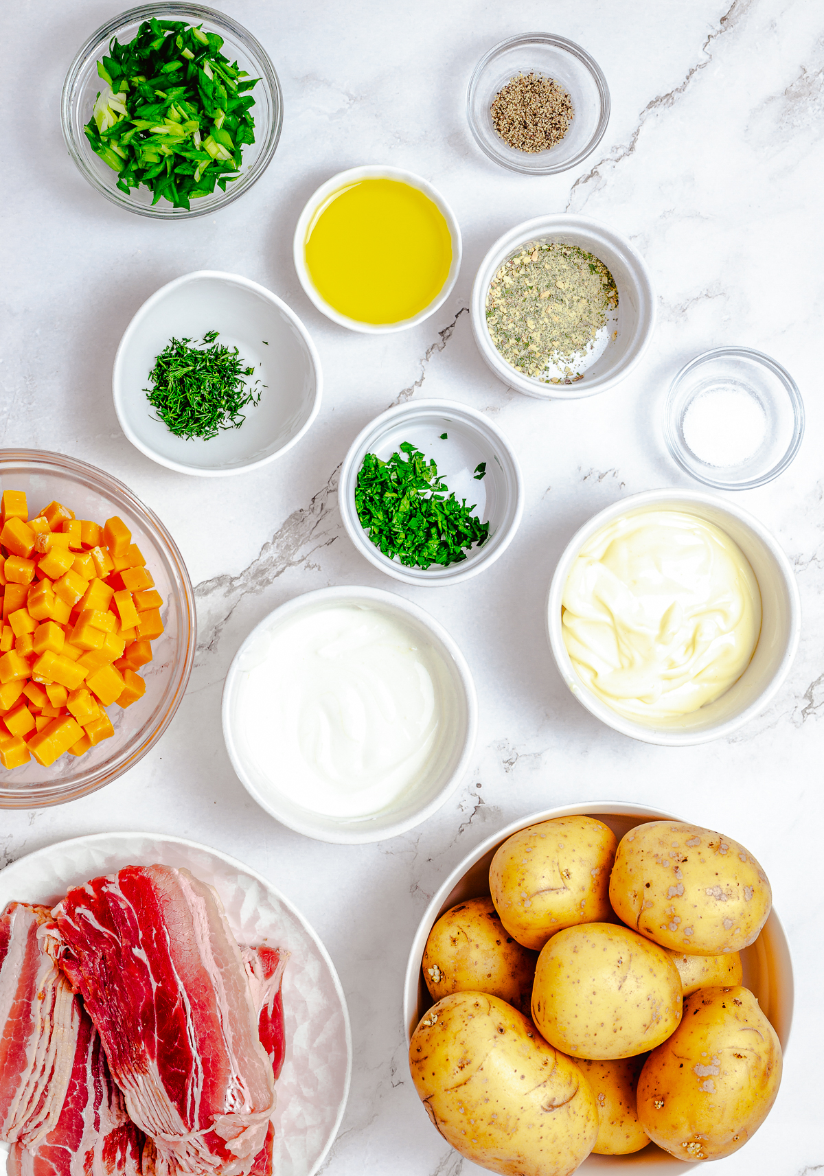 Ingredients needed to make Bacon Ranch Potato Salad