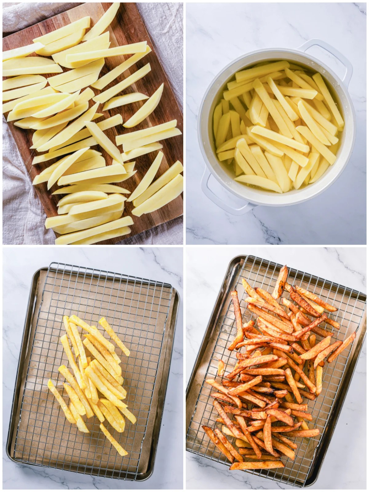 Step by step photos on how to make Homemade French Fries.