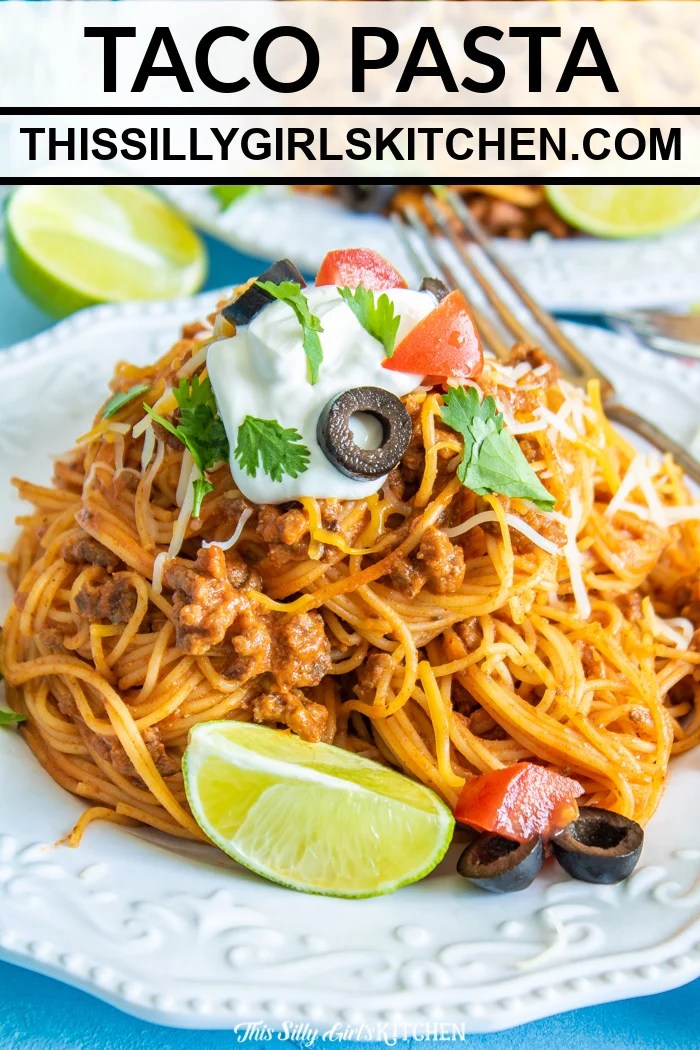 Close up of taco pasta on plate Pinterest Image