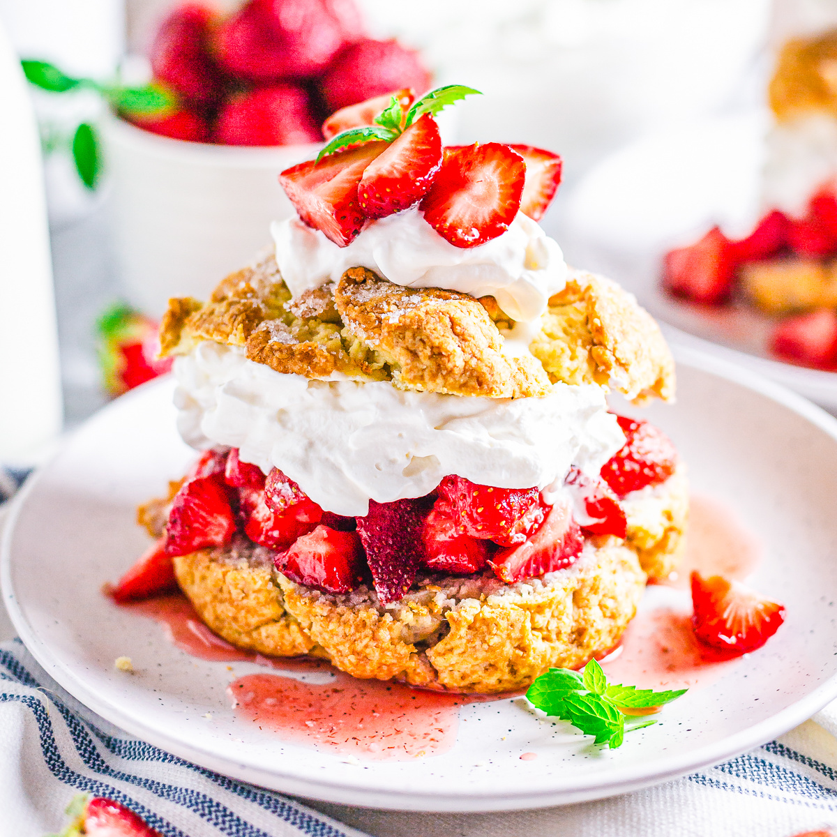 Square image of one finished shortcake on white plate with garnishes