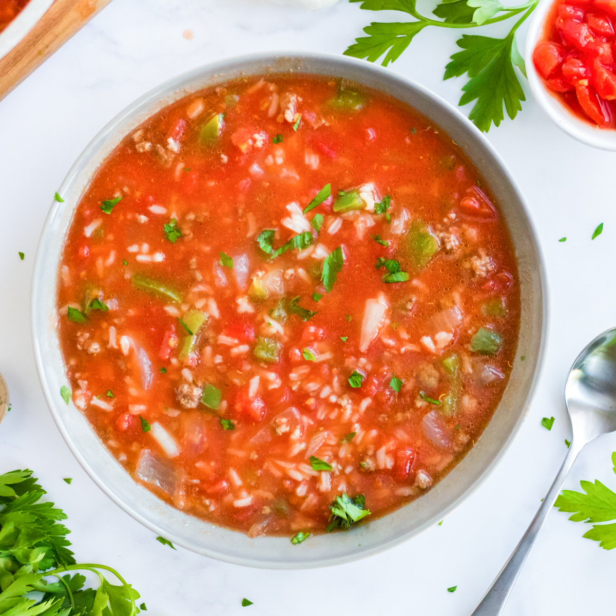 Overhead of Stuffed Pepper Soup in bowl square image