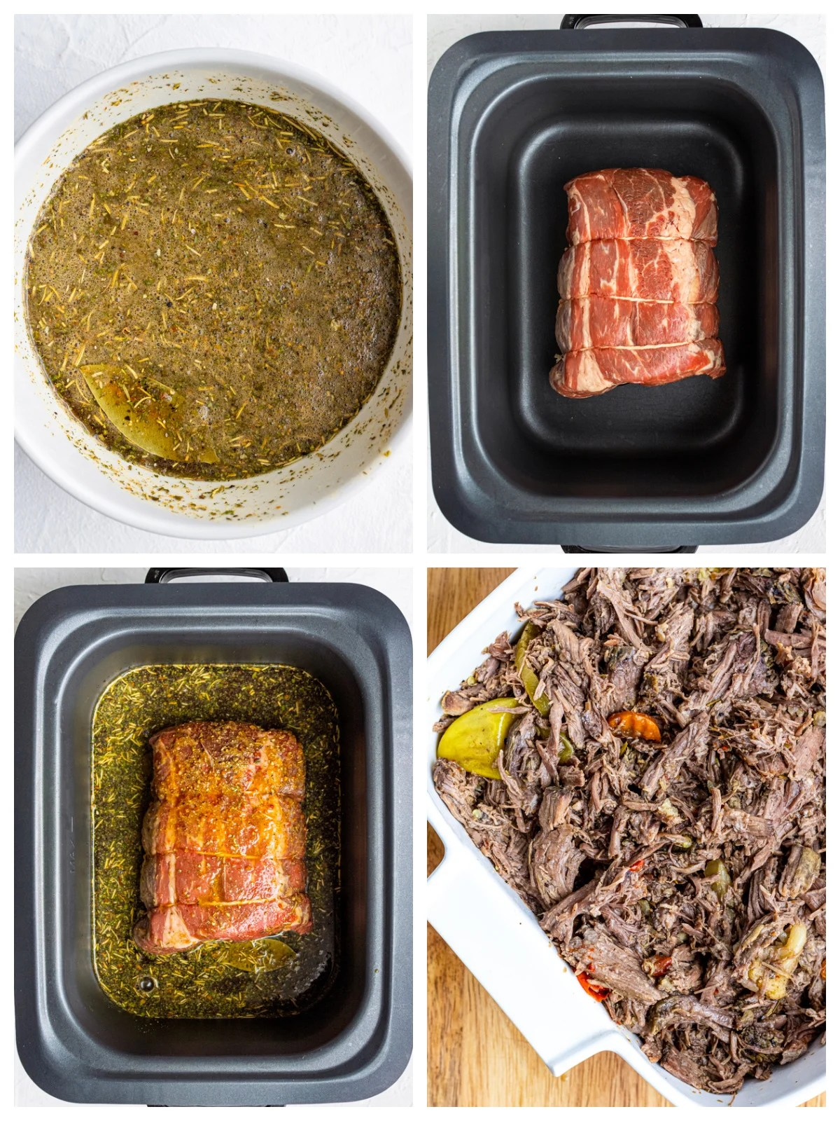 Step by step photos on how to make Slow Cooker Italian Beef Sandwiches