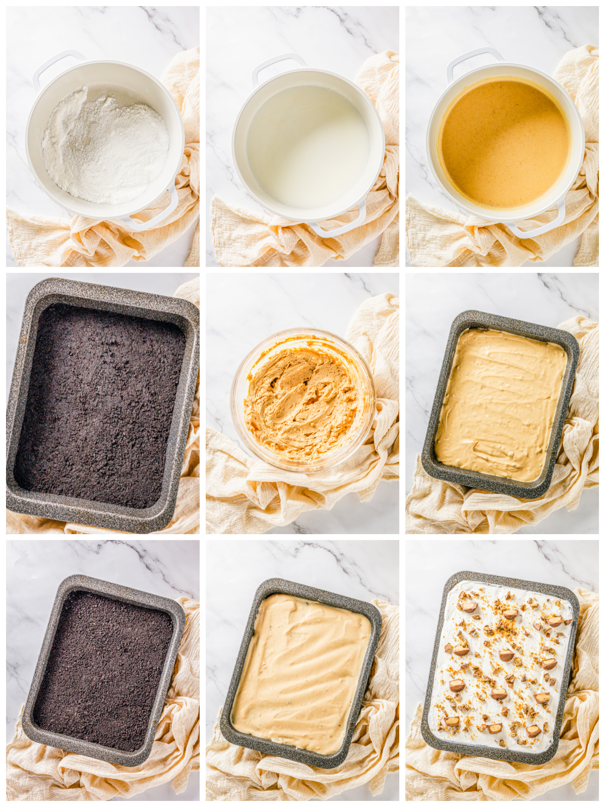 Step by step photos on how to make Peanut Butter Lasagna.