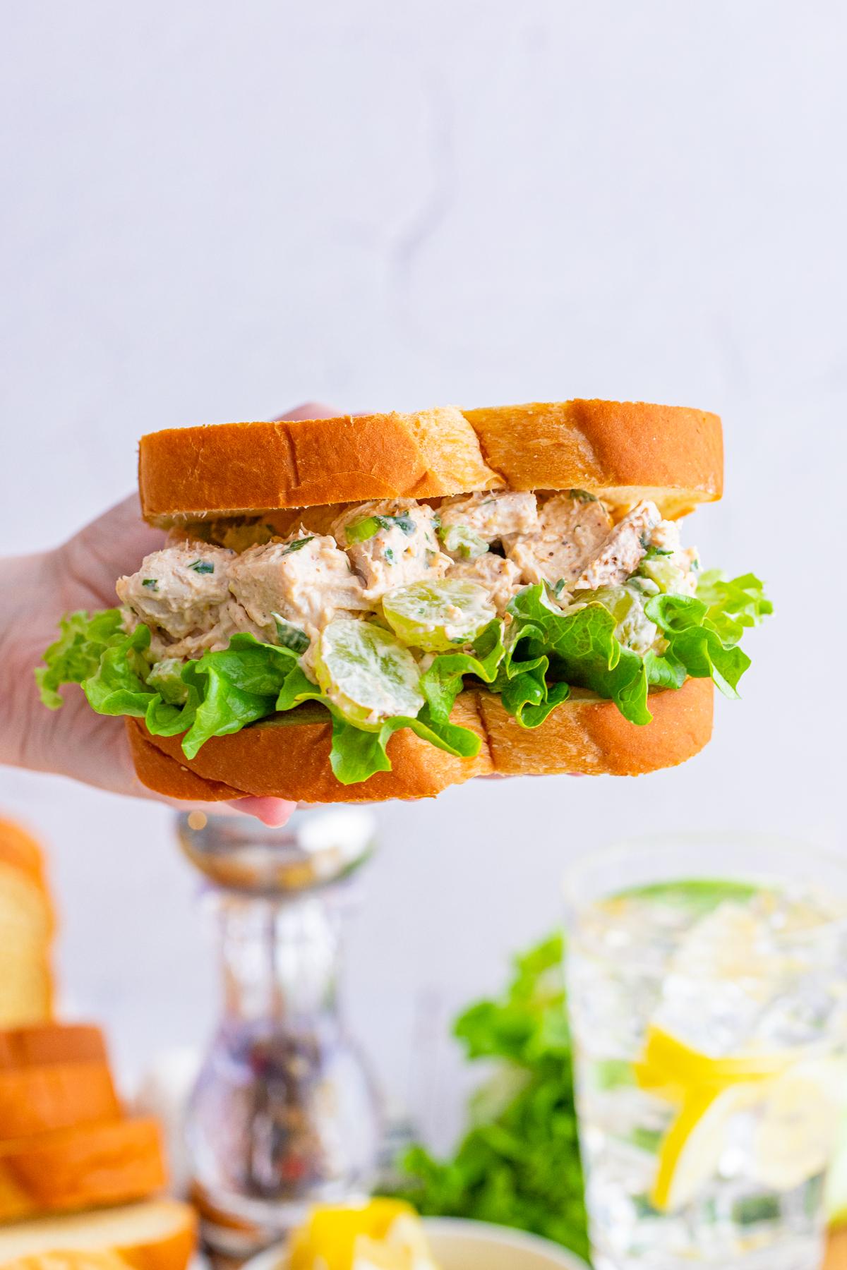 Hand holding Chicken Salad Sandwich