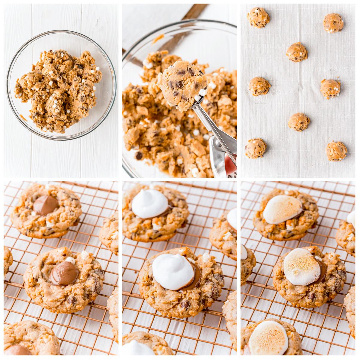 Step by step photos on how to make S'mores Cookies