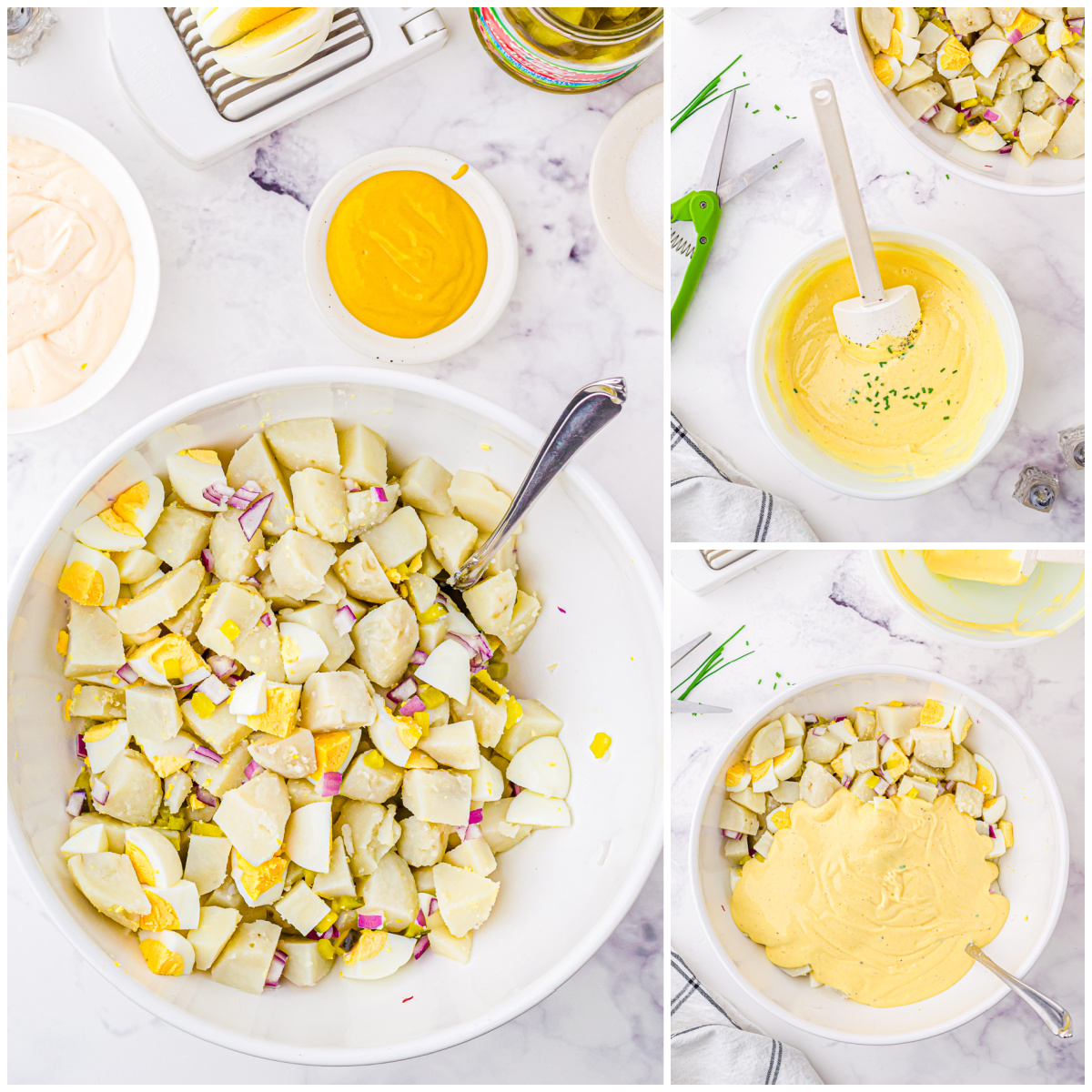 Step by step photos on how to make Classic Potato Salad