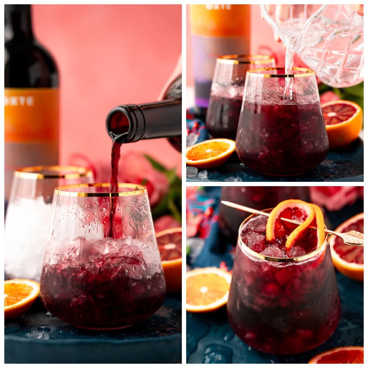 Step by step photos on making a Red Wine Spritzer