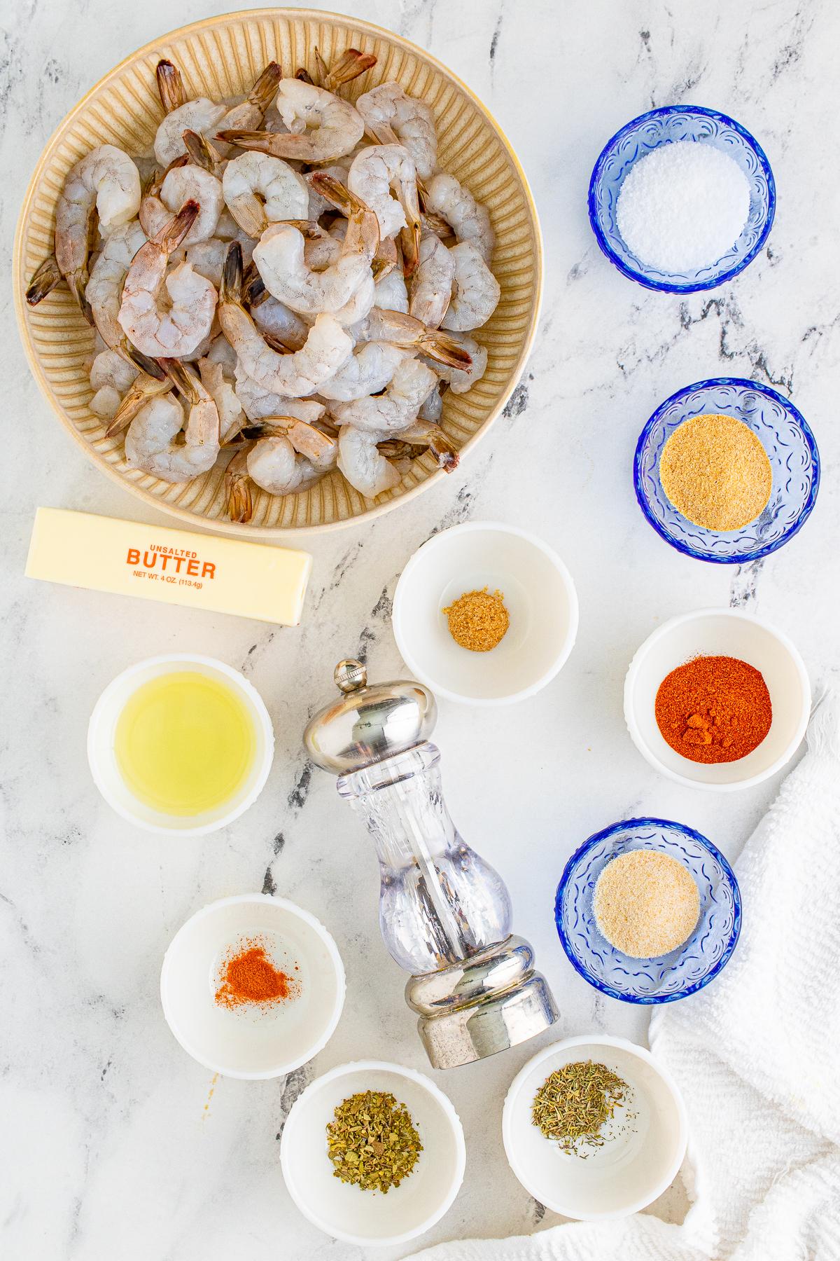 Ingredients needed to make Blackened Shrimp