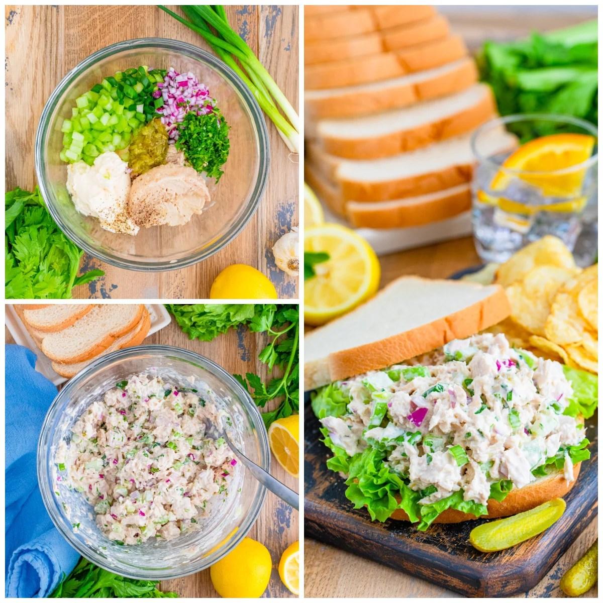 Step by step photos on how to make a Tuna Salad Sandwich