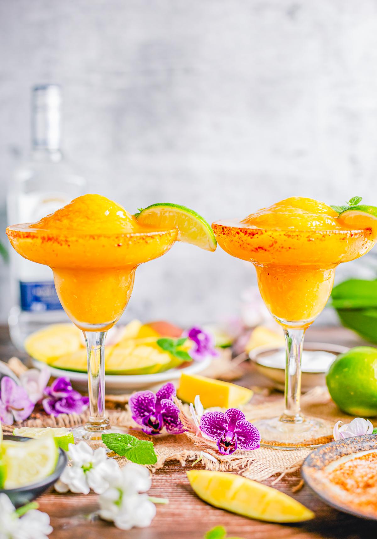 Two Mango Margaritas in glasses