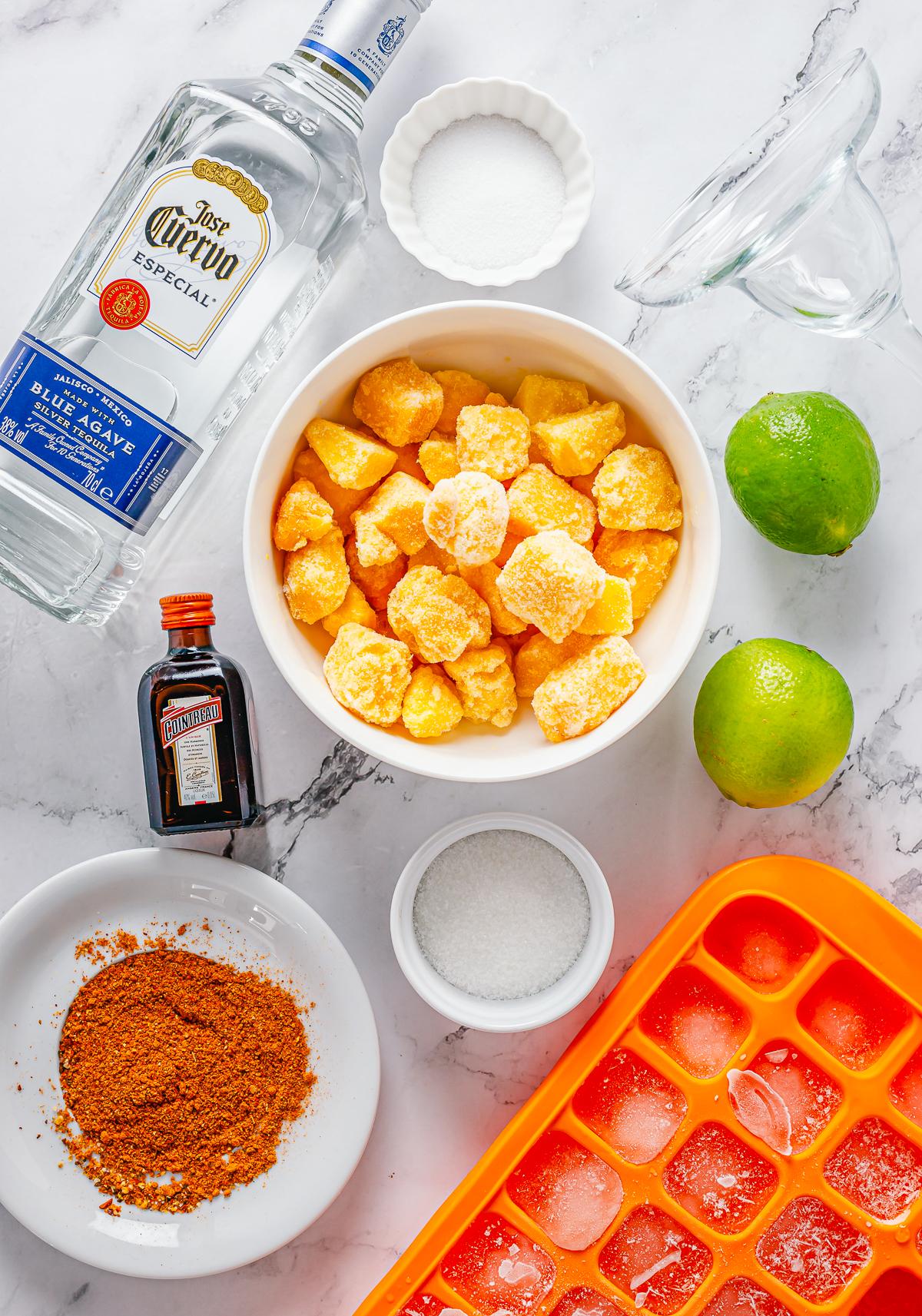 Ingredients needed to make Mango Margaritas