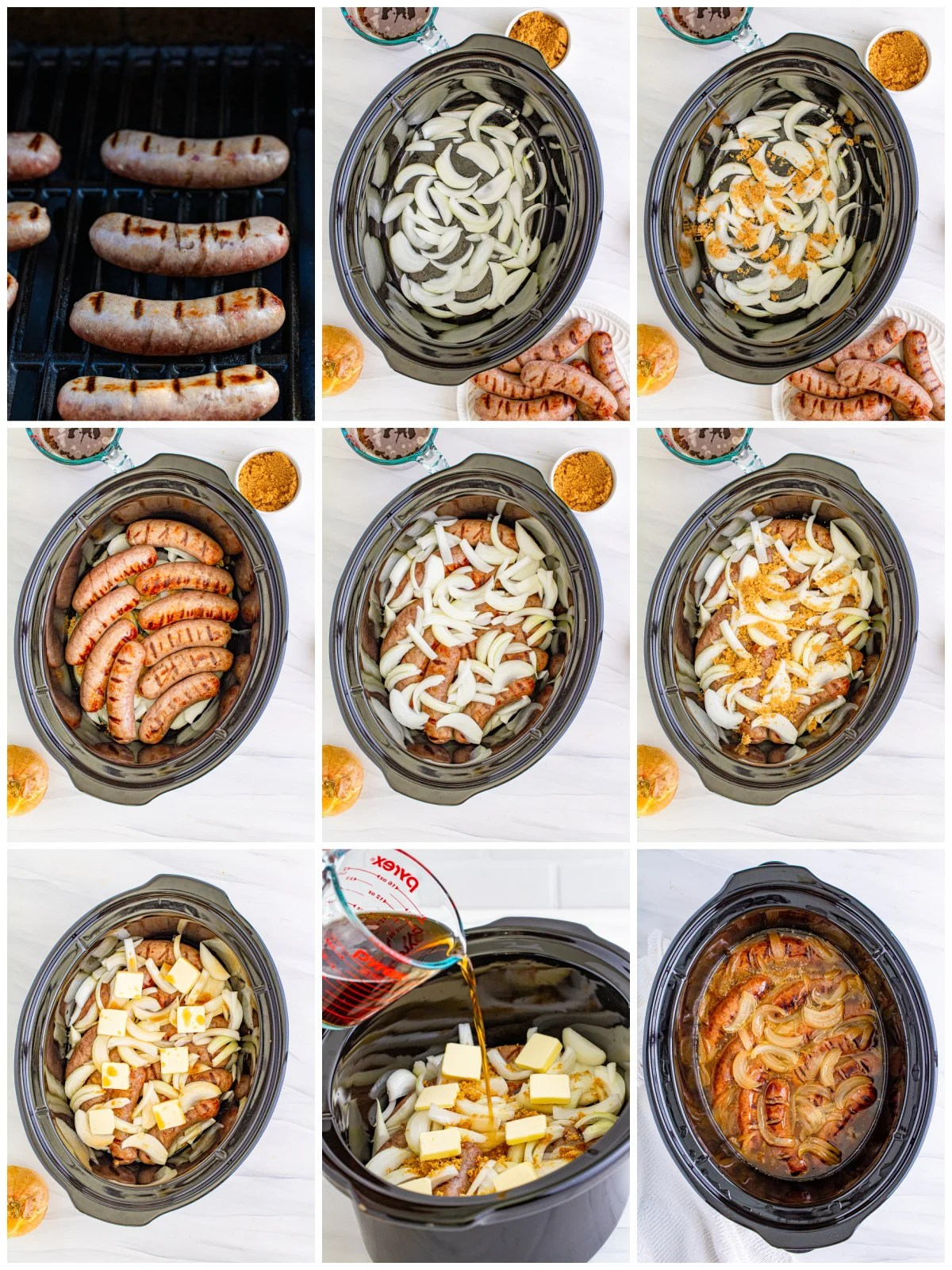 Step by step photos on how to make Slow Cooker Beer Brats.