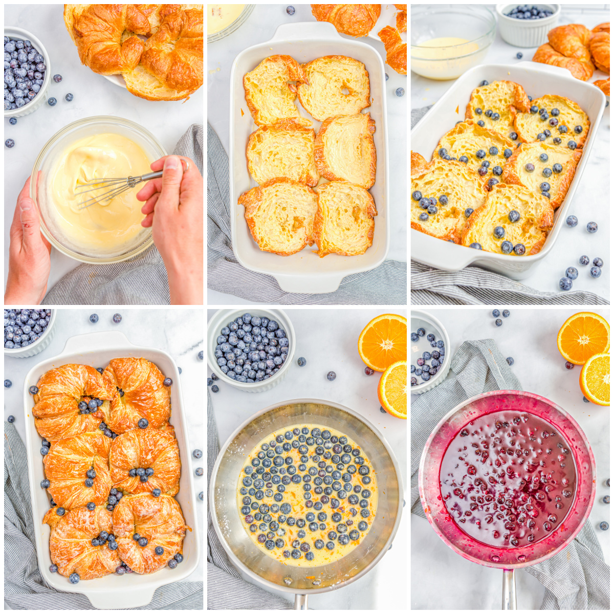 Step by step photos on how to make Blueberry Croissant French Toast