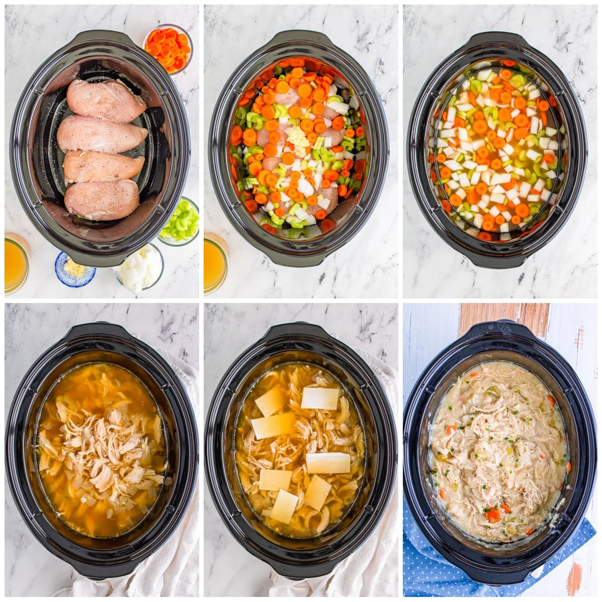 Step by step photos on how to make Slow Cooker Chicken and Dumplings