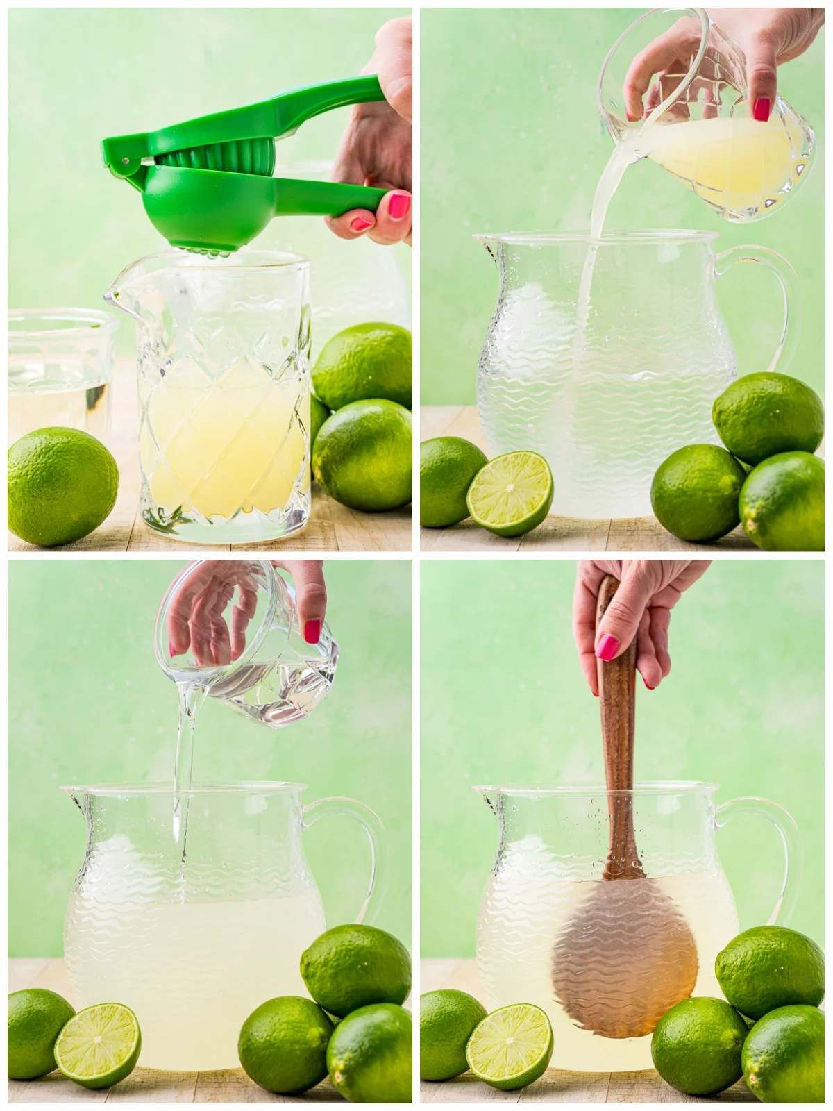 Step by step photos on how to make a Limeade Recipe