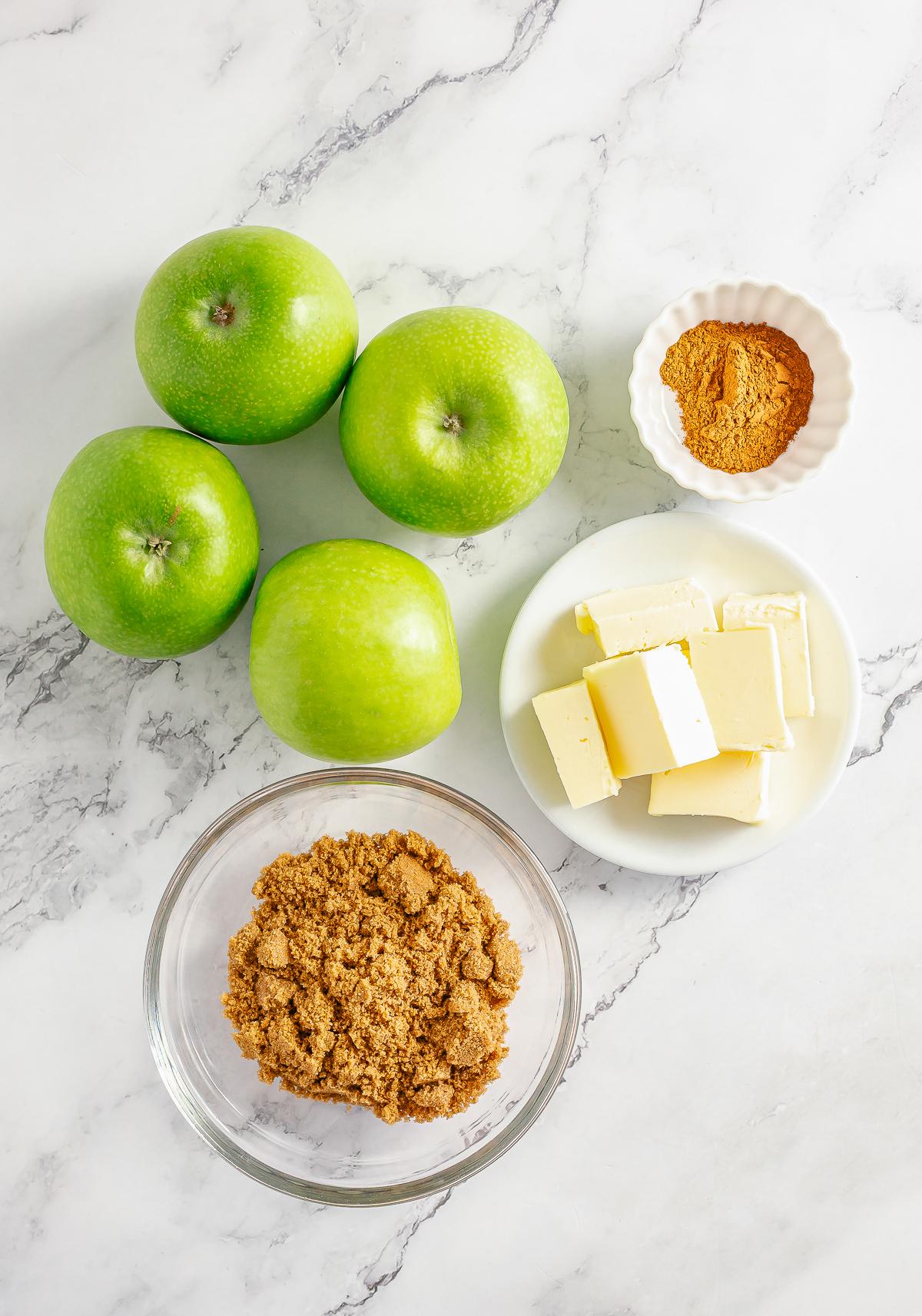 Ingredients needed to make Fried Apples.