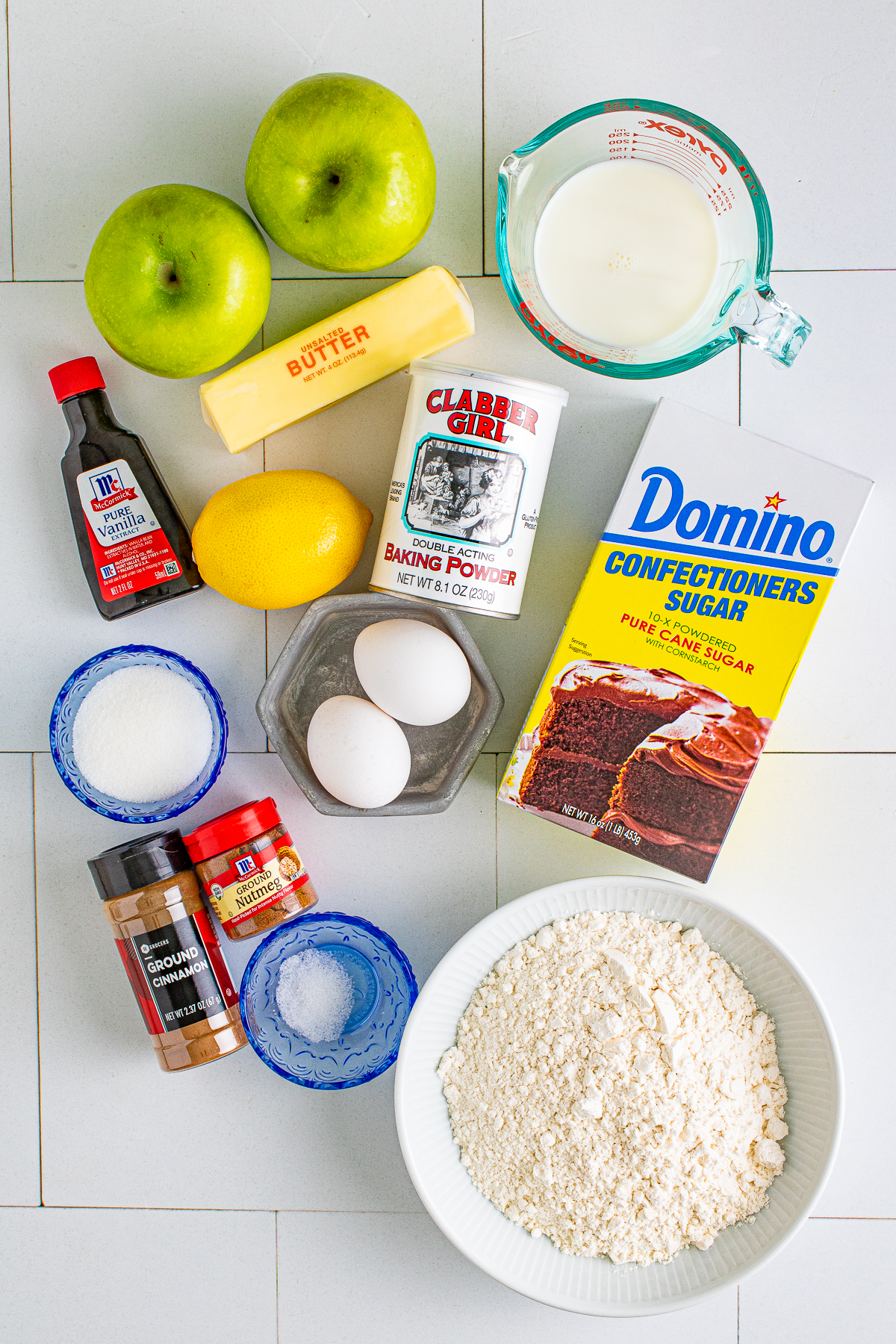 Ingredients needed to make an Apple Fritter Recipe