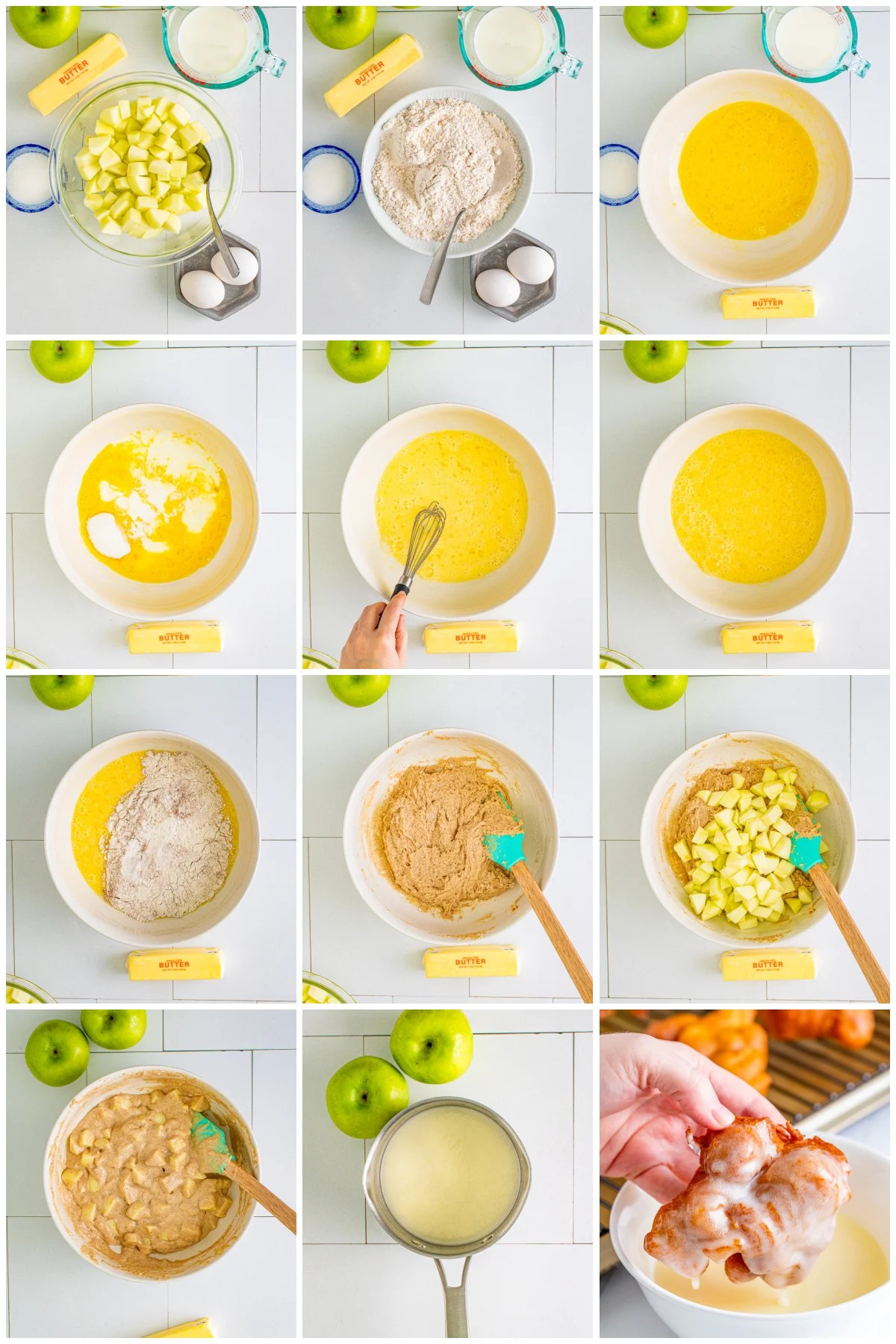 Step by step photos on how to make an Apple Fritter Recipe.