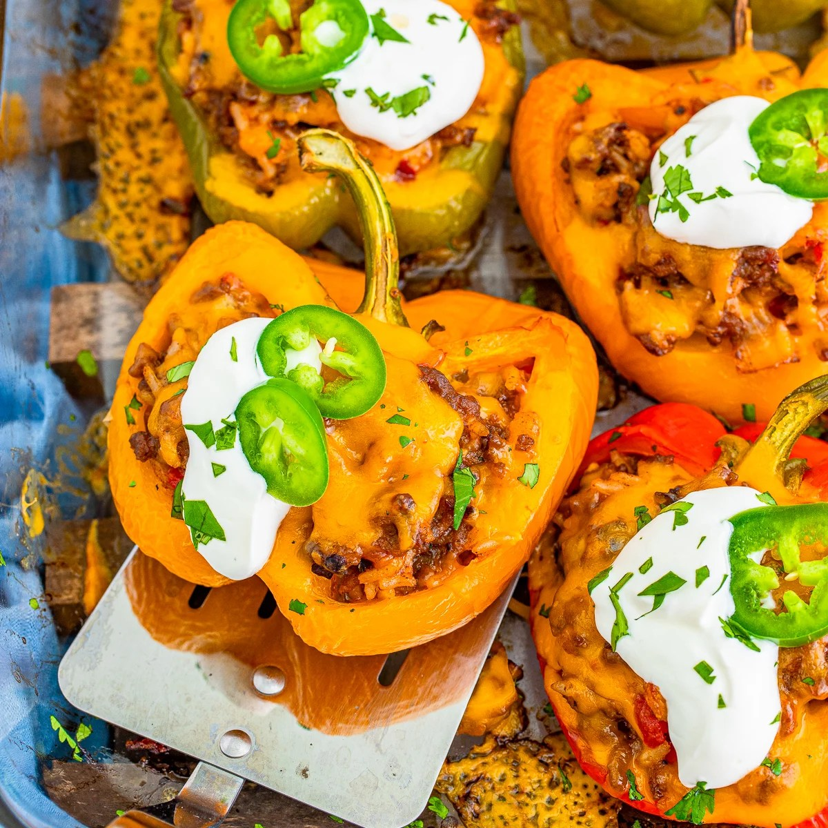 Close up Mexican Stuffed Peppers on spatula