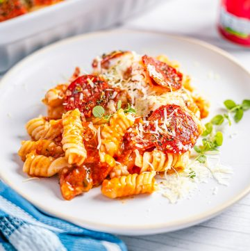 Square image of pasta on plate.