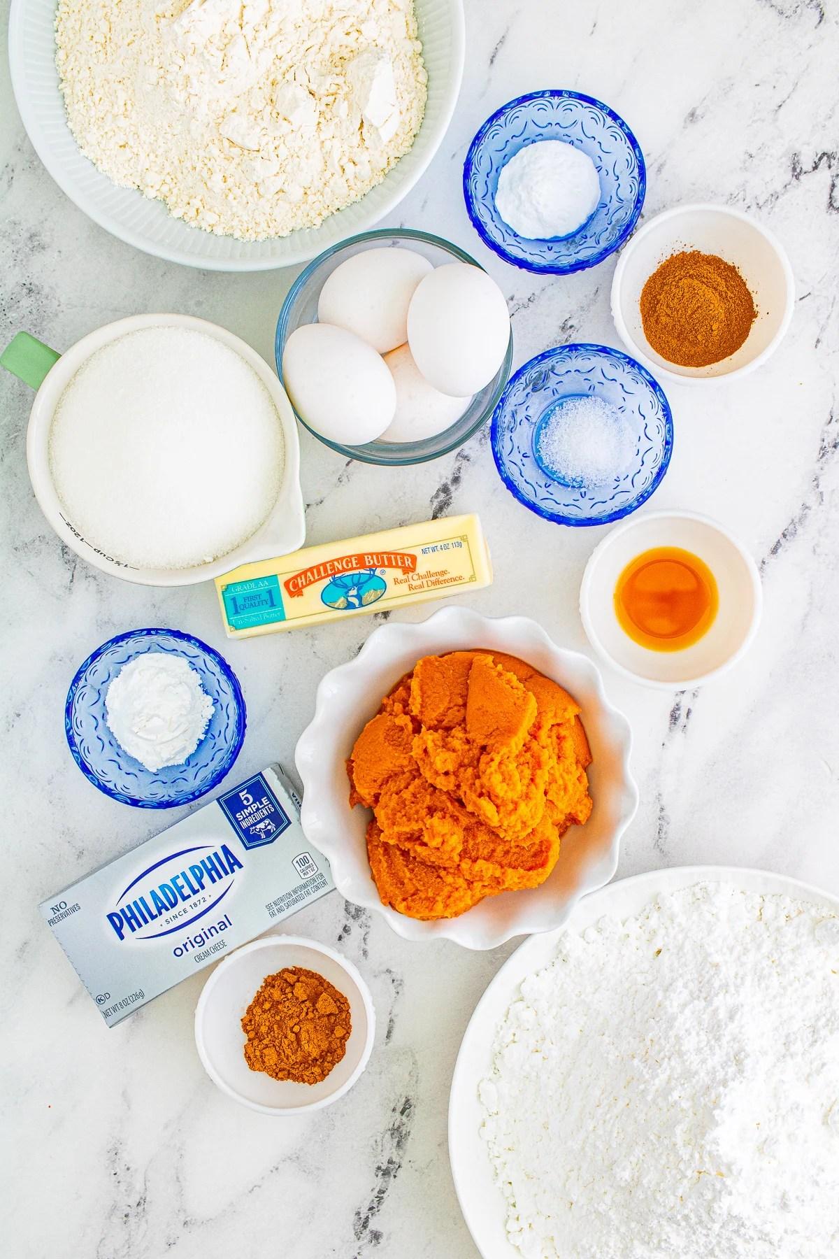 Ingredients needed to make a Pumpki Bar Recipe.