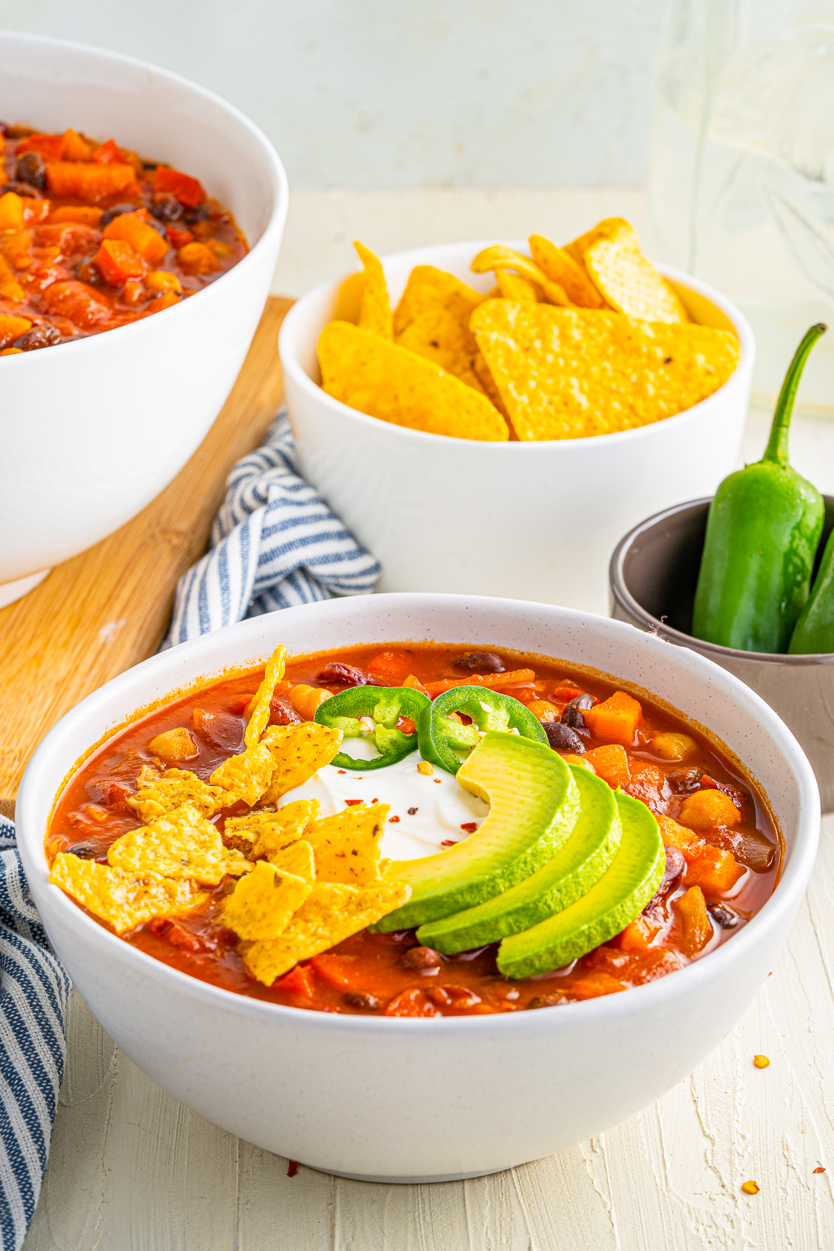 Close up of garnished bowl of the Vegetarian Chili Recipe.