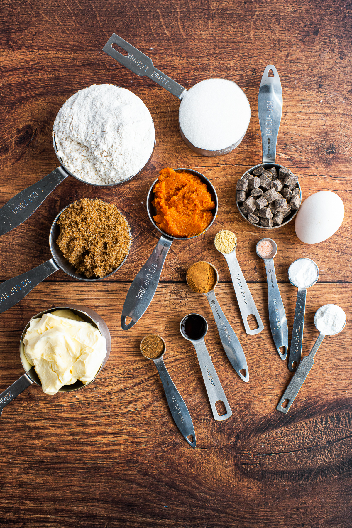 Ingredients needed to make a Pumpkin Chocolate Chip Cookie Recipe.
