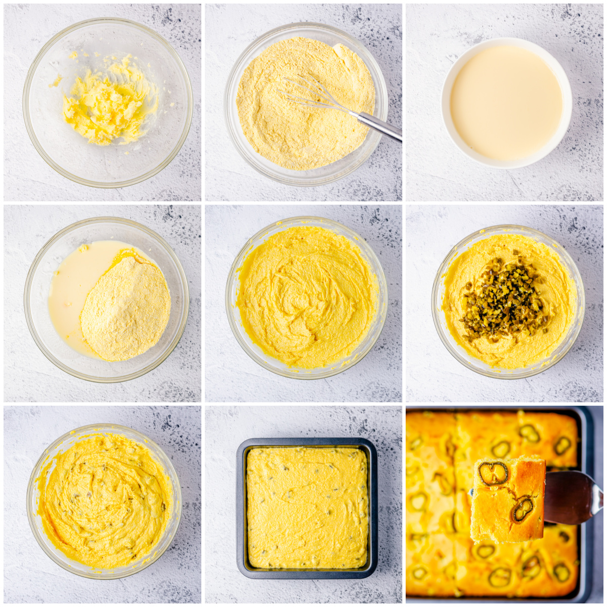 Step by step photos on how to make Jalapeno Cornbread.