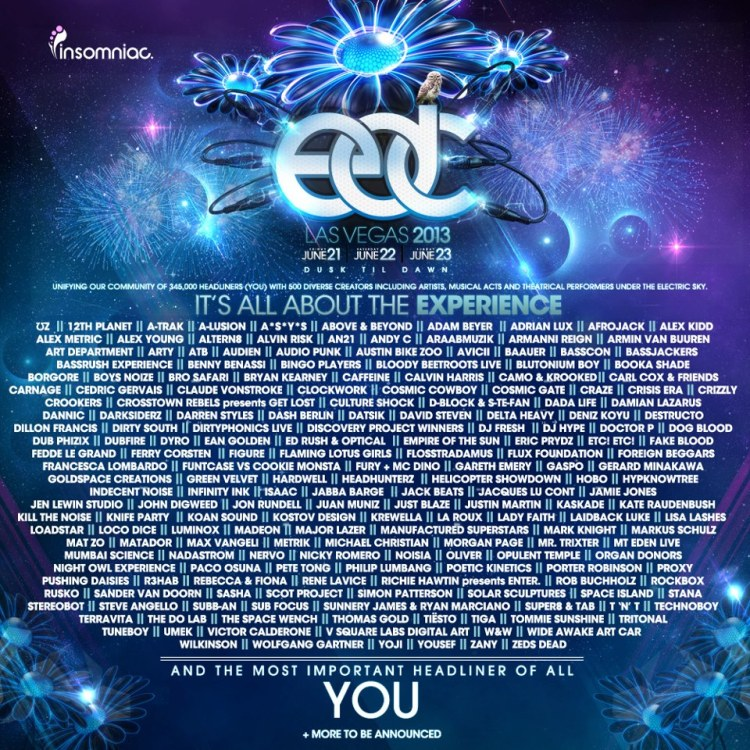 EDC Las Vegas 2013 Lineup Announced : 100+ Acts Announced