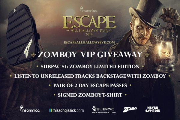 Listen To Unreleased Music With Zomboy Backstage At Insomniac's Escape: All Hallows Eve + Festival Passes [CONTEST]