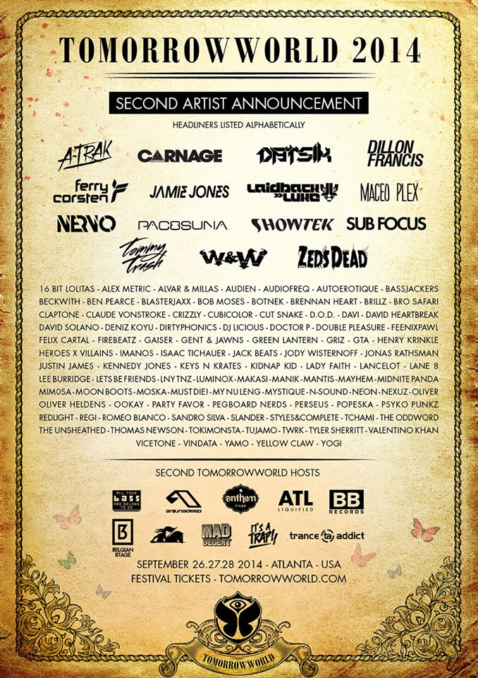 Tomorrowworld 2014 Releases Massive Phase 2 Lineup