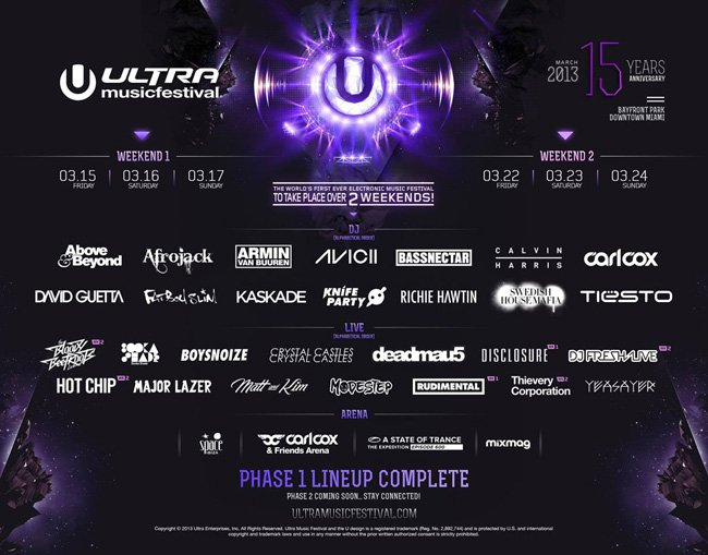 Ultra Music Festival 2013 Announces Official Phase 1 Lineup