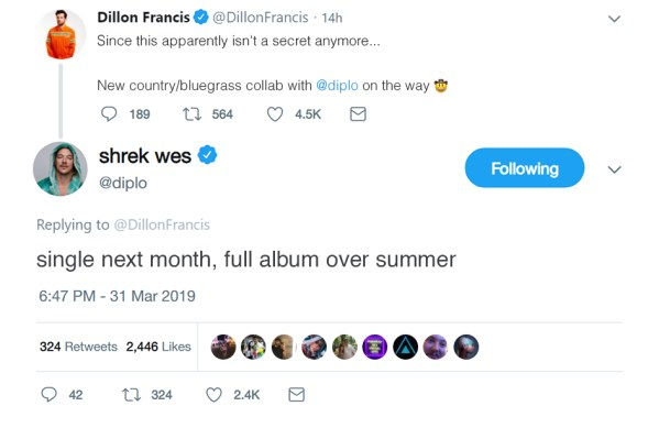 Diplo x Dillon Francis Country Tweet
