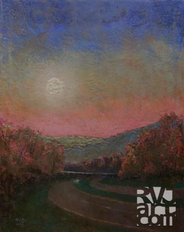 Moonrise 91, oil painting by Roger Vincent Jasaitis, copyright 2013, RVJart.com