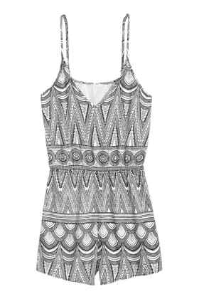 H&M black and white patterned playsuit