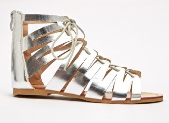Everything 5 Pounds lace up silver sandals