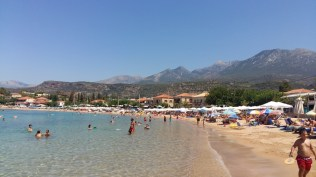 Stoupa beachand mountains