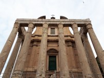 Looking up at the Roman Temple