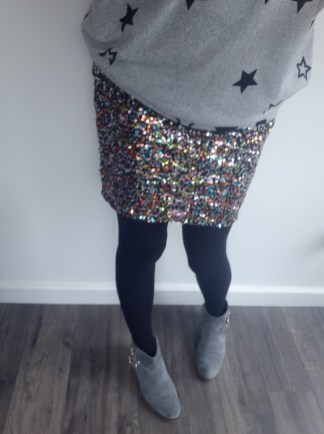 Sequin skirt star jumper and opaques