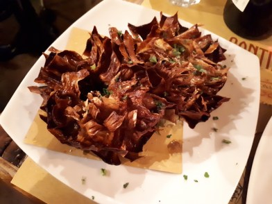 Deep fried artichoke at Cantina e Cucina Rome