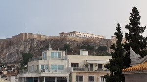 View of the Acropolis from the Metropolis Hotel in Athens