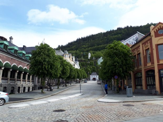 Bergen centre view to funicular railway