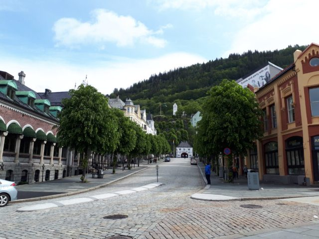 Bergen centre view to funicular railway