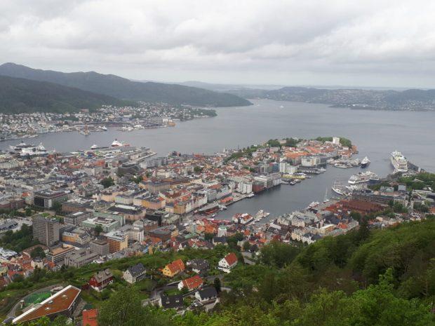View over Bergen harbour from Mount Floyen