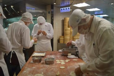 You can watch them making the dumplings! It's very precise. They weigh each dumpling.
