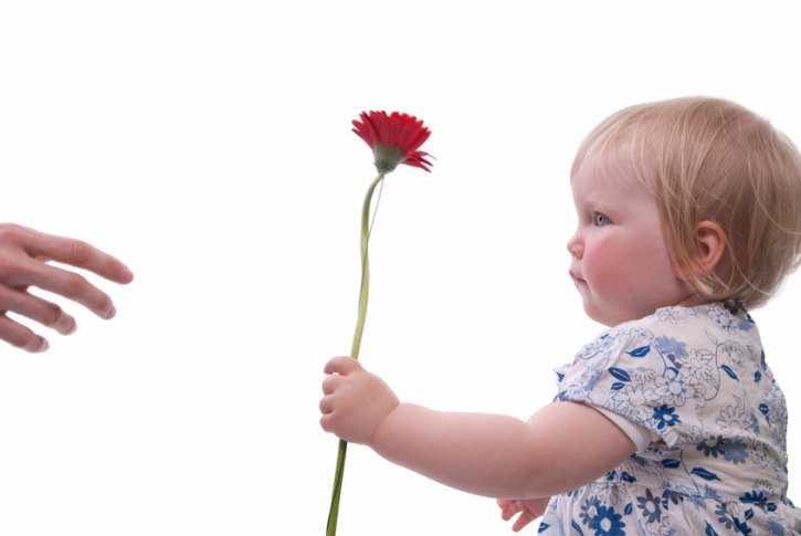 child handing flower to adult